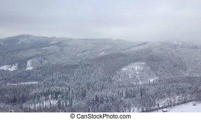 berge, dunst, frost, verschneiter