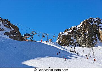 berge, fahren ski zuflucht, -, innsbruck, österreich