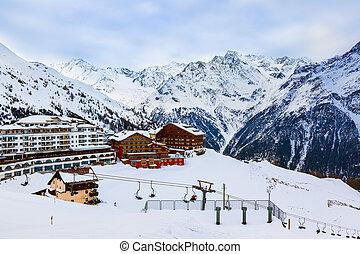 berge, fahren ski zuflucht, solden, österreich