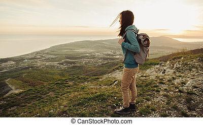 berge, gehen, tourist, weibliche