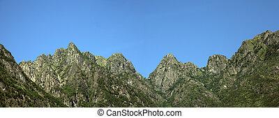 berge, in, der, sommer, mit, blauer himmel