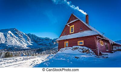 berge, kalte , warm, winter, unterkunft