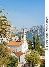 berge, -, kroatien, brist, kirchturm, front, brist, dalmatien