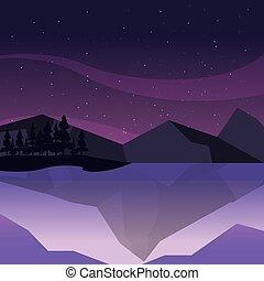 berge, natürlich, felsig, himmelsgewölbe, nacht, ...