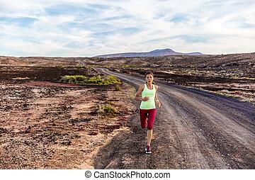 berge, natur, läufer, athlet, folgen lauf