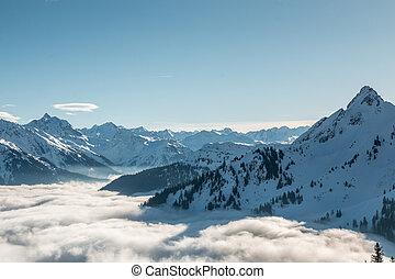berge, oberseite, schnee, unten, nebel, tal