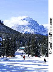 berge, ski fahrend