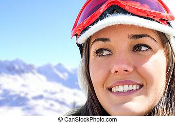 berge., skier, kugel, weibliches gesicht