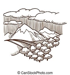 berge, skizze, täler, hügel, baumwald, landschaftsbild