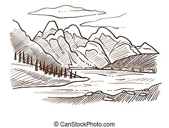 berge, skizze, tal, hügel, wald, flußquerformat