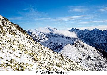 berge, sonnig, tatra, inspirational, ansicht, tag, landschaftsbild