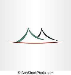 berge, symbol, abstrakte landschaft, ikone