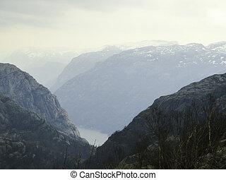 berge, und, fjord, in, norwegen