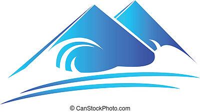 berge, und, sandstrand, logo