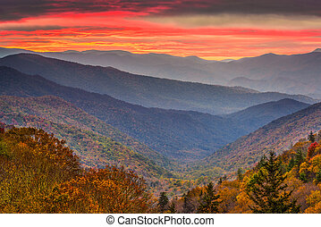 berge, usa, tennessee, rauchig, herbst, park, national