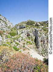 berge, wandern, grotte, ciolo, -, leuca, apulia