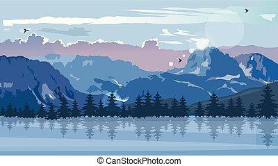 berge, winter, jahreszeit, blaues