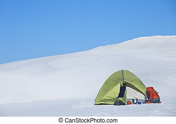 berge., winter, zelt
