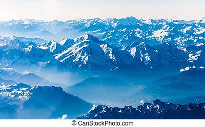 bergen, aanzicht, vliegtuig.
