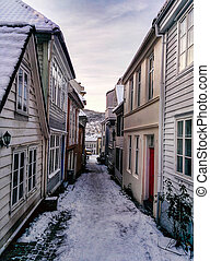 Bergen architecture - The old town of Bergen, a narrow...