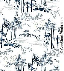 bergen, brige, model, japanner, seamless, vector, bamboe
