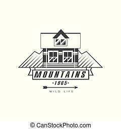 bergen, buiten, premie, berg, ouderwetse , symbool, illustratie, vector, exploratie, avontuur, achtergrond, logo, black , witte , kwaliteit, ontwerp