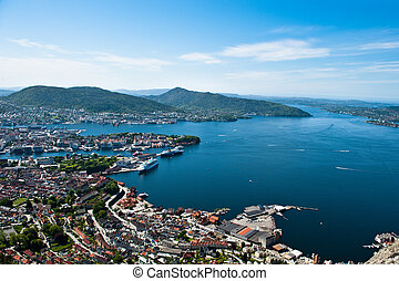 Bergen city - Veiw from one of the surrounding mountains in...