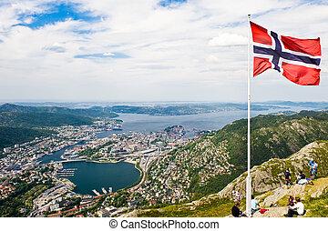 Bergen city view from mount Ulrikken