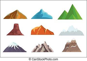 bergen, communie, heuvels, web, set, vrijstaand, spotprent,...