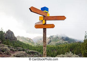 bergen, concept, richtingstekens, keuze, achtergrond., leeg, straat