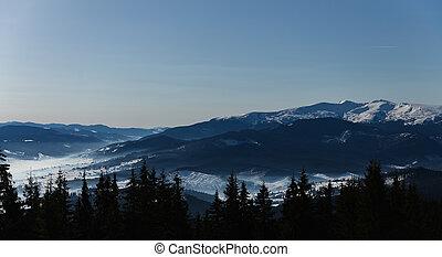 bergen, dramatisch, landscape, puur, sky.