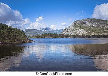 bergen, en, fjord, in, noorwegen