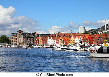 Bergen - famous town in Hordaland county, Norway. Bryggen...