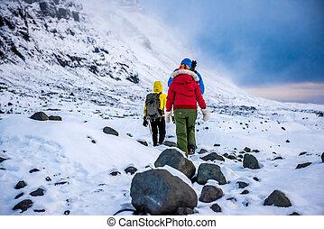bergen, groep, sneeuw, klimmers