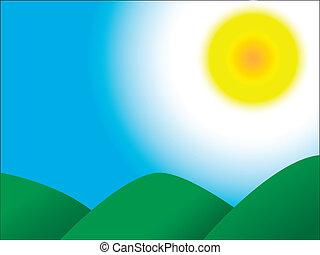 bergen, hemel, zon