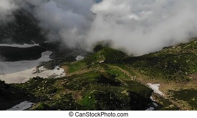 bergen, hoogland, sneeuw, groot, groene, vallei