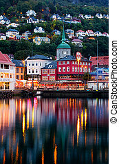 Bergen in Norway - BERGEN, NORWAY -SEPT 25, 2014:Historical...