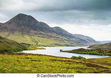 bergen, island., skye, meer, hoogland, eiland, landscape