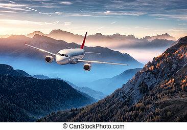 bergen, kleurrijke, op, vliegen, mist, ondergaande zon , vliegtuig