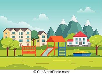 bergen, landgoed, huisvesting, moderne, -, illustratie, vector, speelplaats