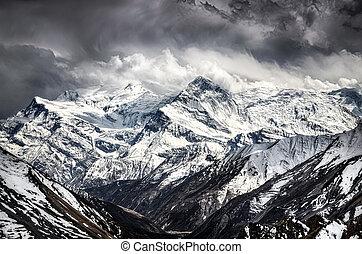 bergen, landschap, himalayas, hemel, dramatisch, aanzicht
