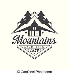 bergen, leven, buiten, premie, berg, ouderwetse , symbool, illustratie, vector, exploratie, avontuur, achtergrond, logo, wild, black , witte , kwaliteit, ontwerp