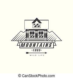 bergen, logo, ontwerp, premie, kwaliteit, ouderwetse , zwart wit, berg, exploratie, buitene avontuur, symbool, vector, illustratie, op, een, witte achtergrond