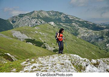 bergen, meisje, trekking