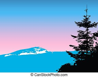 bergen, met, sneeuw