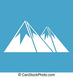 bergen, met, sneeuw, pictogram, witte