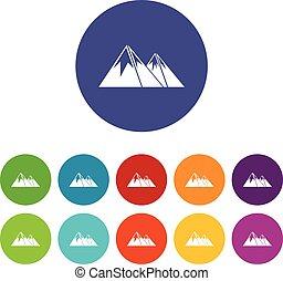 bergen, met, sneeuw, set, iconen