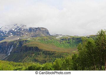 bergen, met, watervallen