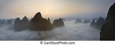 bergen, mist, chinees