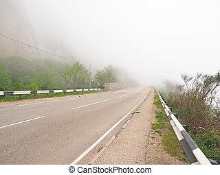 bergen, mist, straat